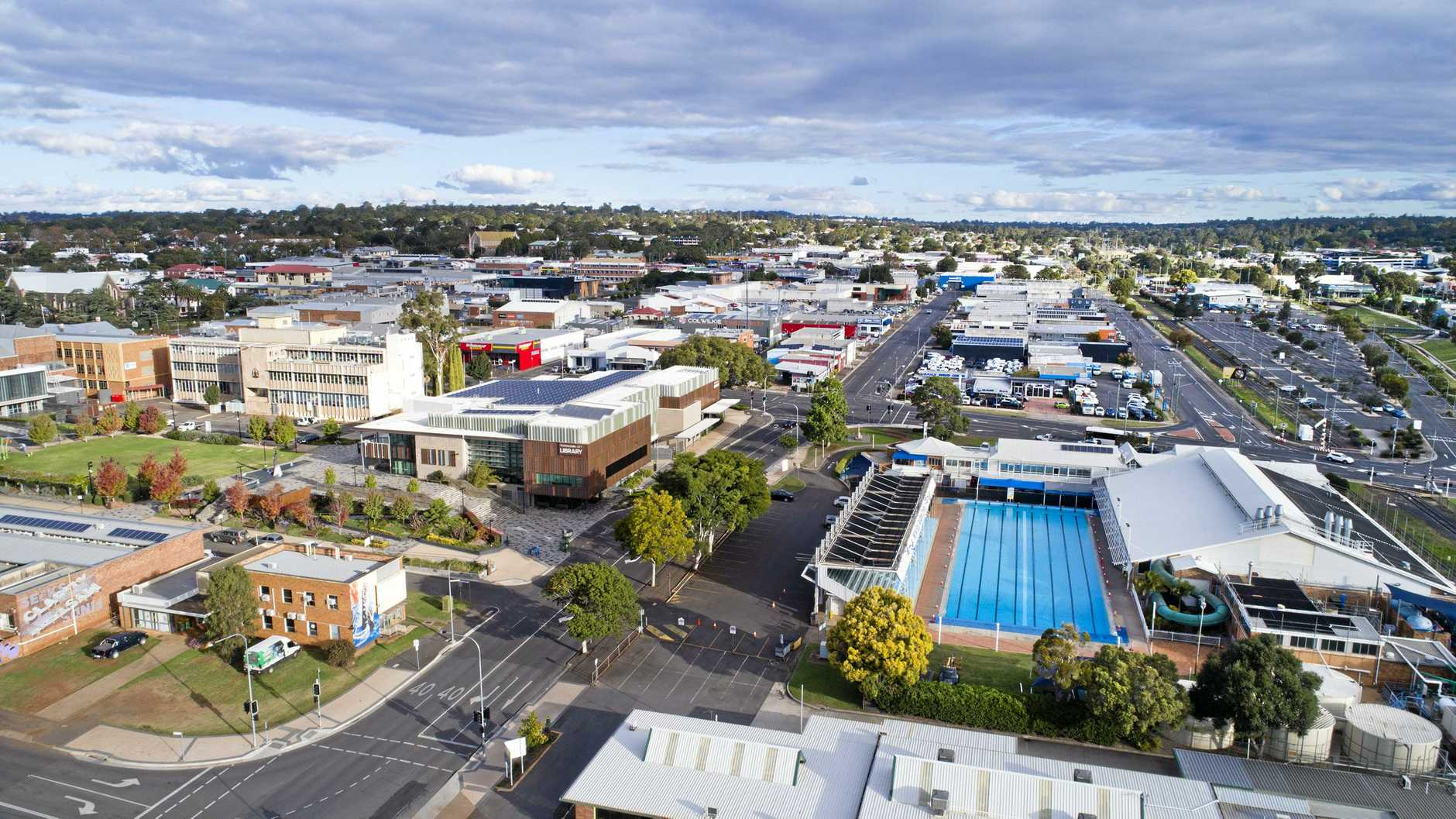 View due south from Toowoomba City Bowls Club. Drone pictures of Toowoomba CBD. Sunday, 19th May, 2019.