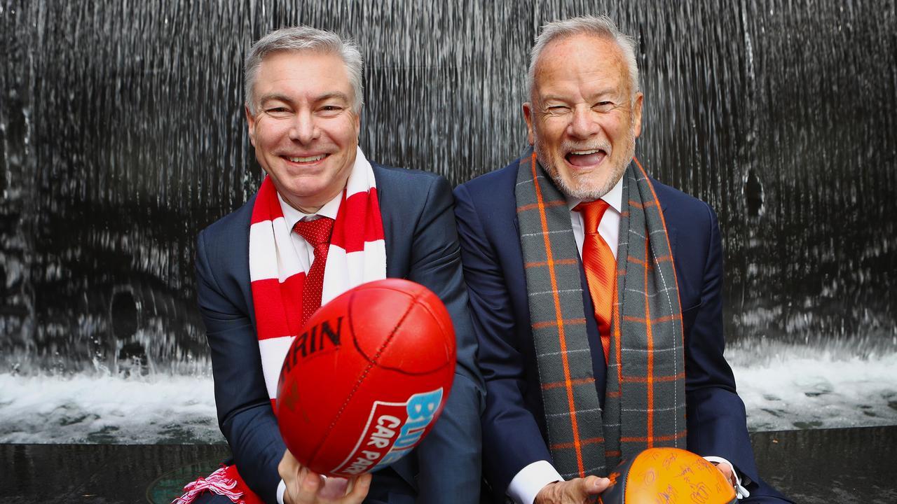 Swans chairman Andrew Pridham (left) sent GWS counterpart Tony Shepherd a congratulatory text. Picture: Hollie Adams/The Australian