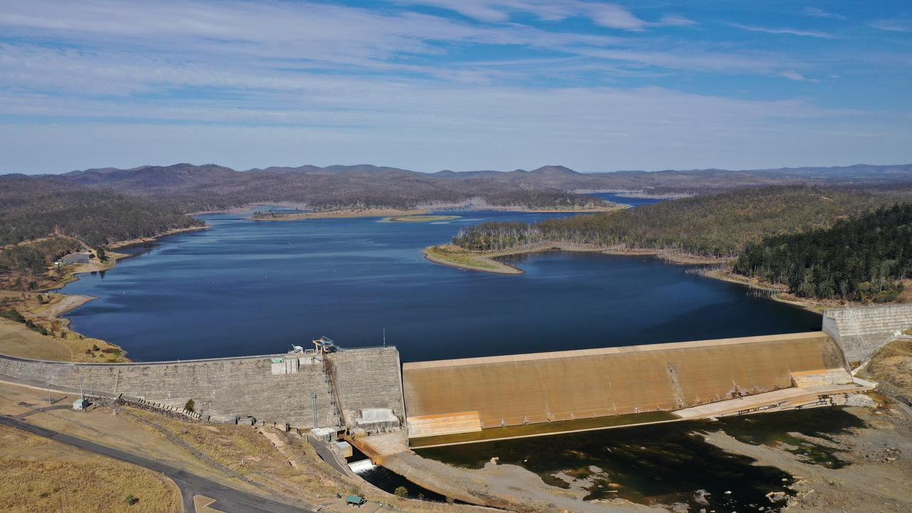 An aerial photograph of Paradise Dam, which is currently at 75 per cent.