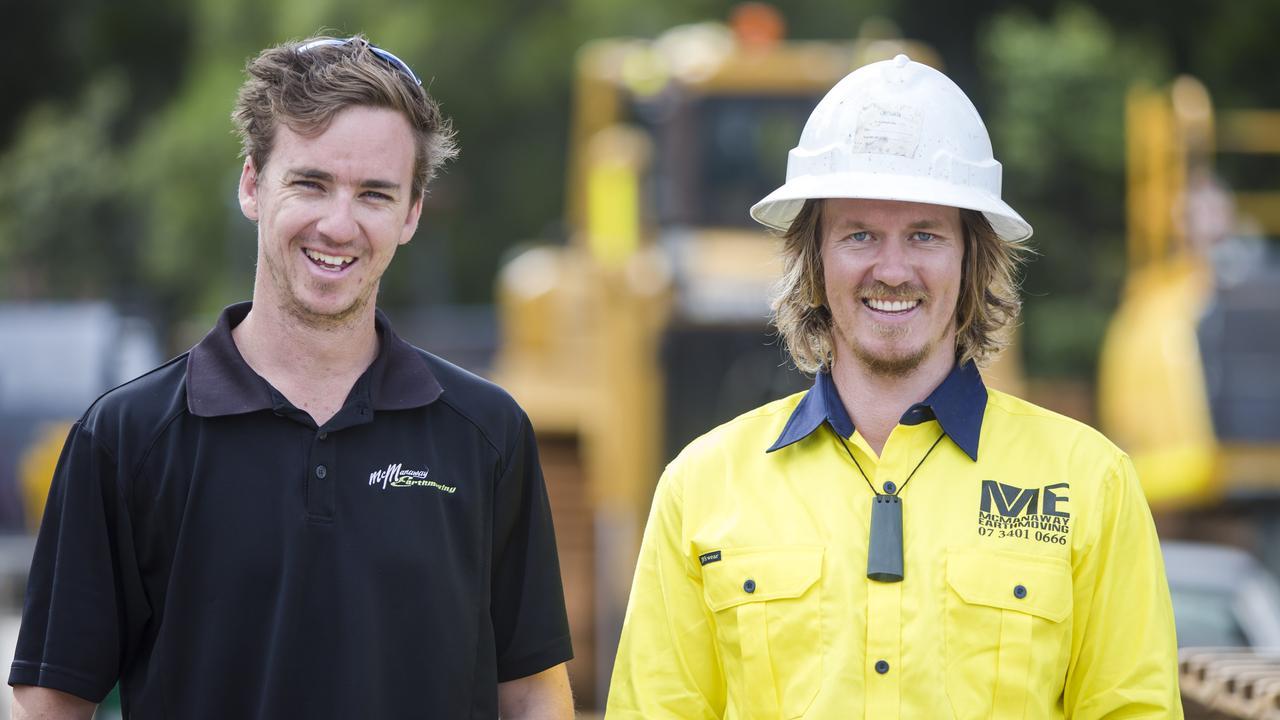 McManaway Earthmoving employee Ben Roche and director James McManaway.