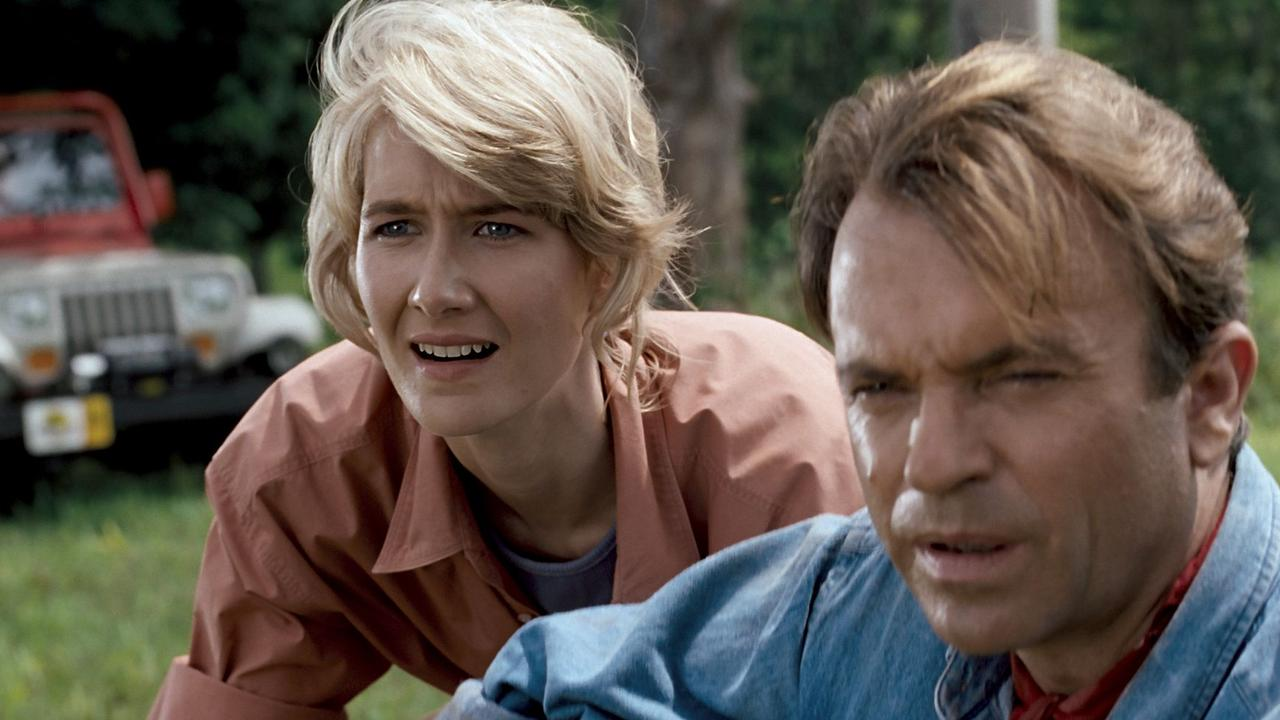 Laura Dern and Sam Neill in a scene from film Jurassic Park — 3D re-release in 2013