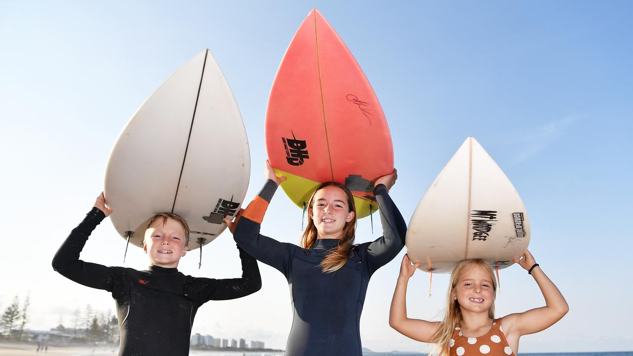 Freddie, 10, Layla, 13, and Poppy Oheir, 7, are heading off to the Grom Surf Comp in Sydney. Photo Patrick Woods / Sunshine Coast Daily.
