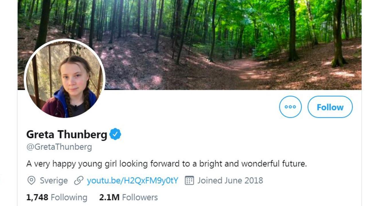 Climate change activist Greta Thunberg's Twitter.