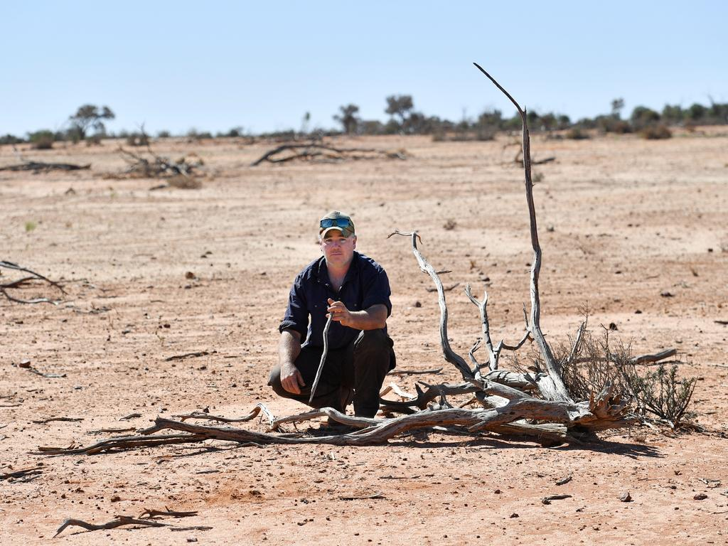 Grazier Zane Turner on his property at Goodwood Station near Whitecliffs, NSW. Picture: AAP