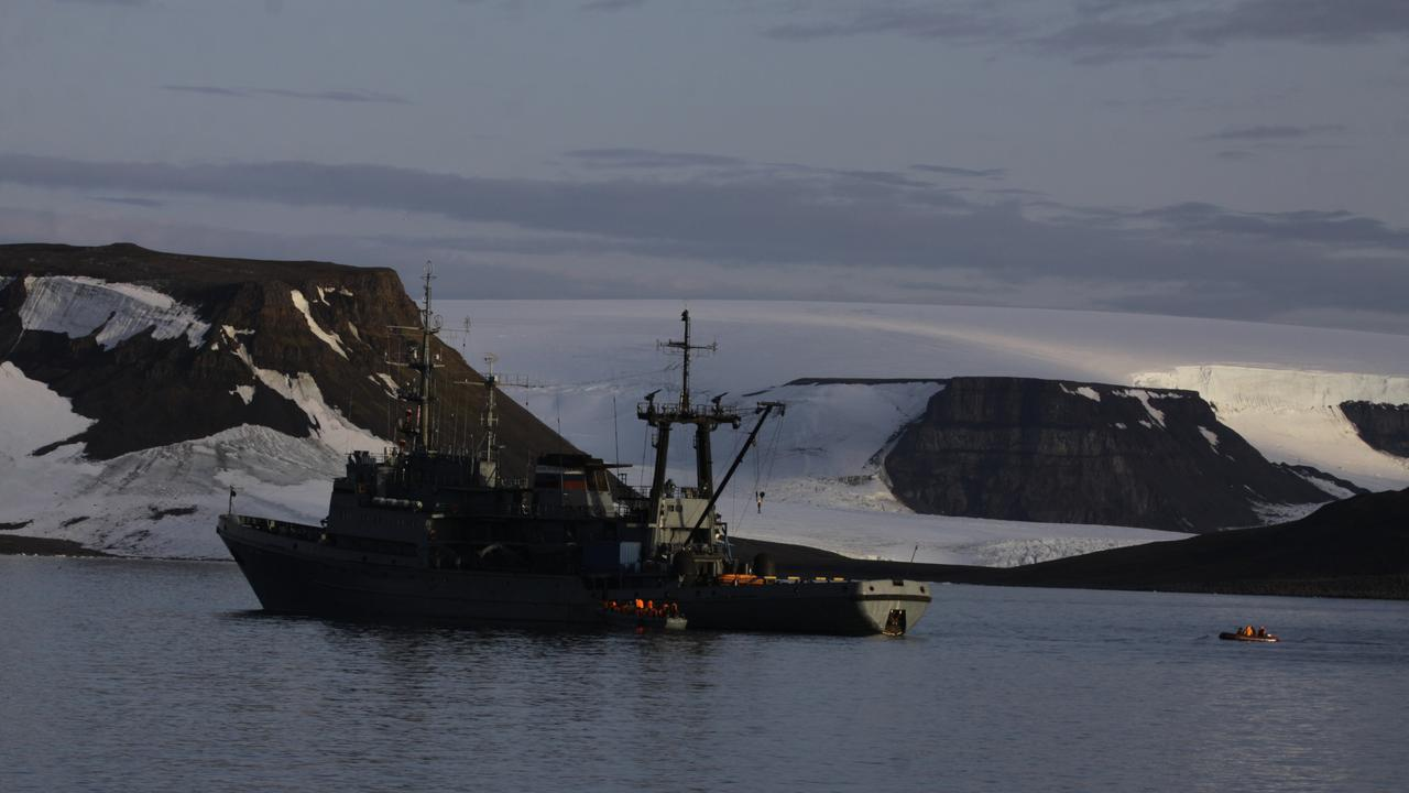 A Russian Navy vessel in the Arctic.