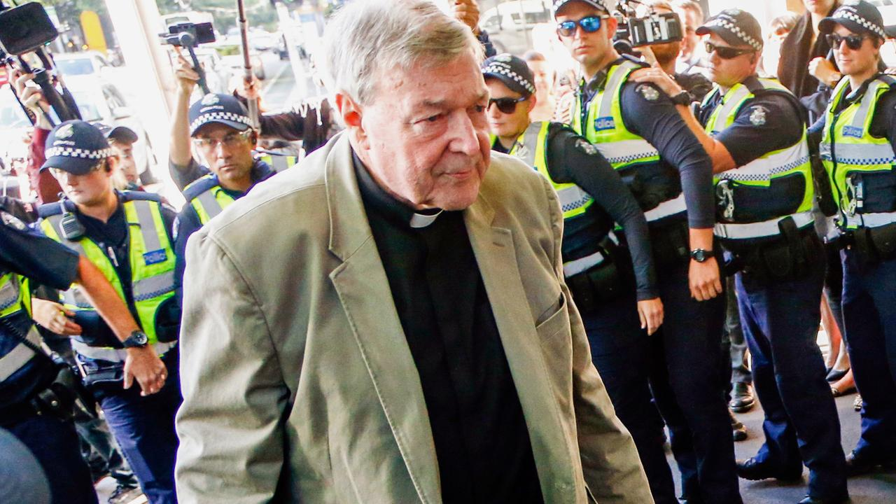 George Pell arrives at Melbourne Magistrates' Court. Picture: AP