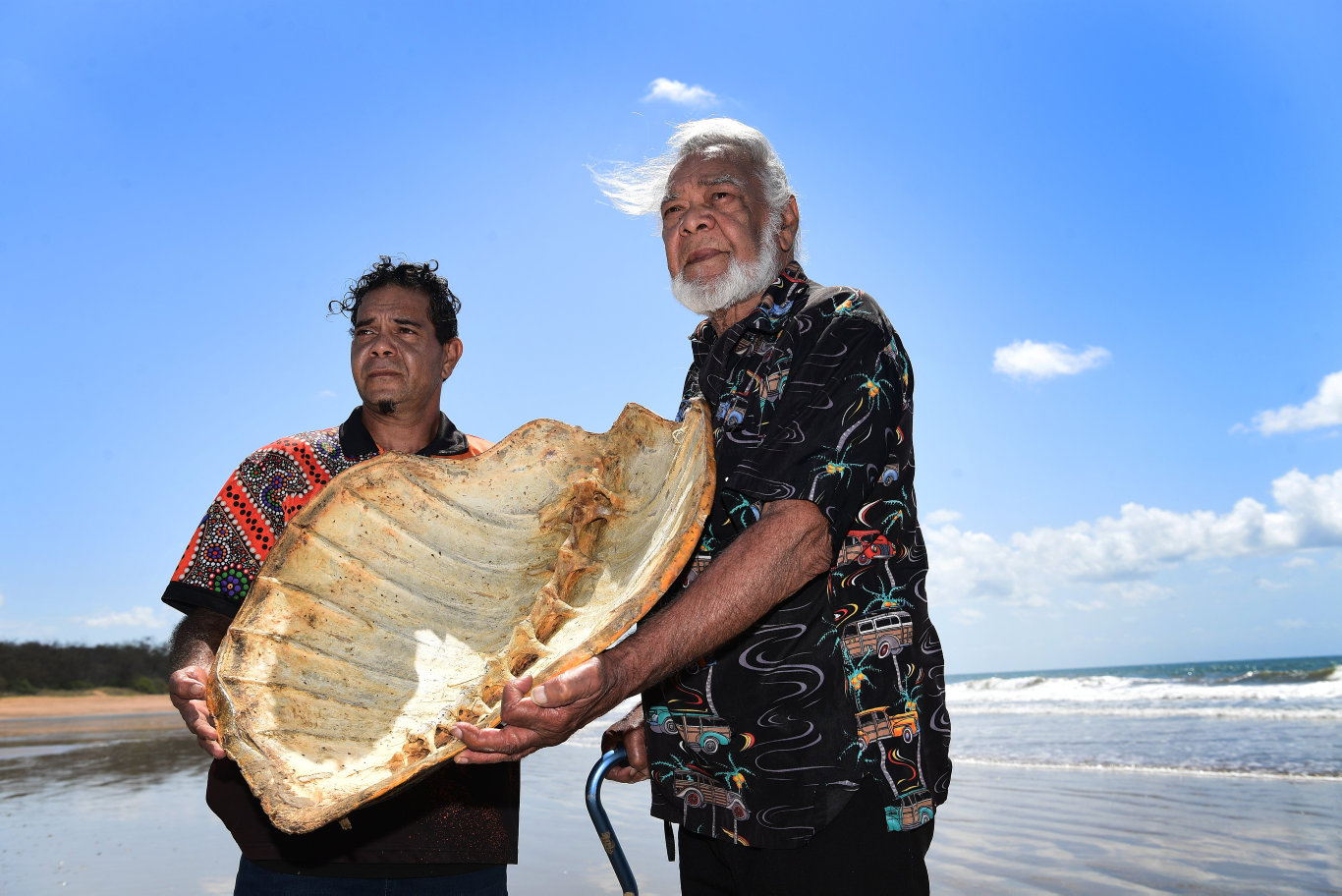 MEE-BAR: Taribelang cultural deliverer Byron Broome and Taribelang Bunda elder Willie Broome at Mon Repos beach.