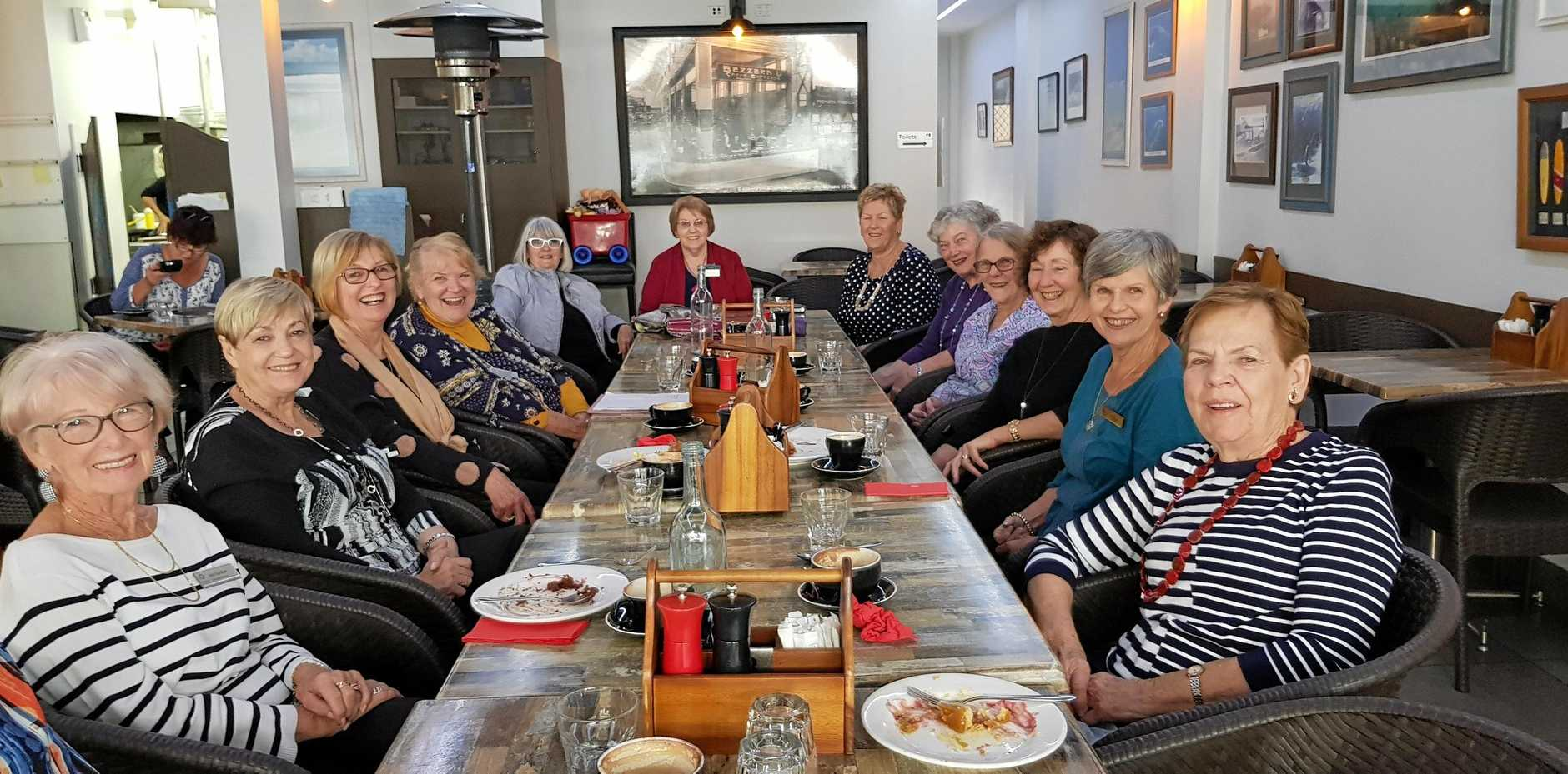 COFFEE AND CHAT: Caloundra Evening VIEW members Judy Gardiner, Margaret Ive-Smith, Val Davis, Julie Williams, Carol Kahl, May Thomas, Beryl Moye, Sue Meehan, Betty Brie, Mary Montgomery, Cheryl Scott, and Pat Porter enjoy Morning Tea at Café By the Beach, Moffat Headland.