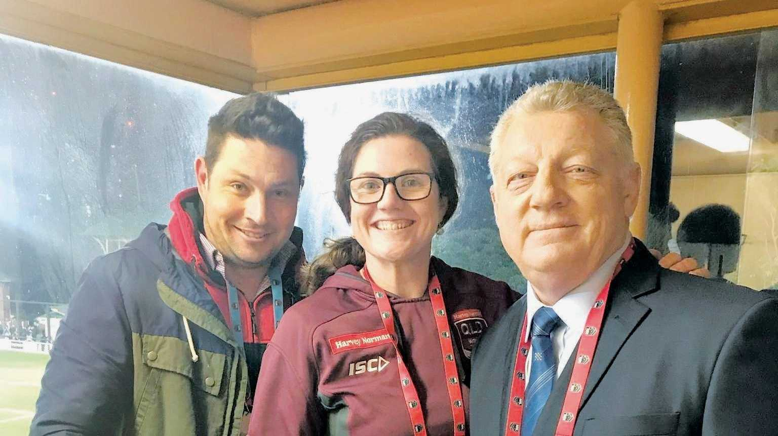 BEST SEAT IN THE HOUSE: Warwick's Jo Barrett alongside callers Mat Thompson (left) and Phil Gould in the Channel 9 commentary box.