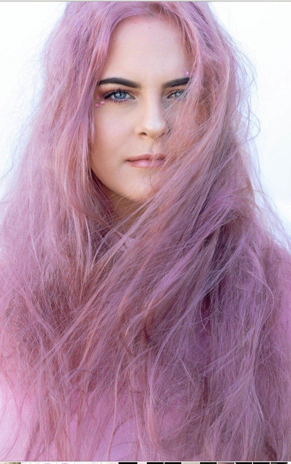 Deb Ford's model Yana Holmes with her 'Candy Floss' colour.