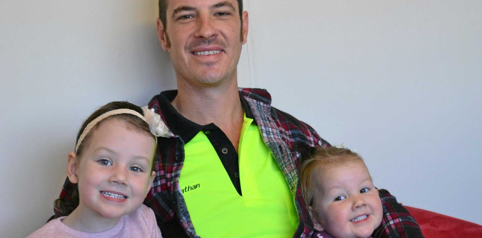 LUKCY WIN: Local tradesman Nathan Lee with his daughters Kiara and Mikayla who had been making good use of his new prize.