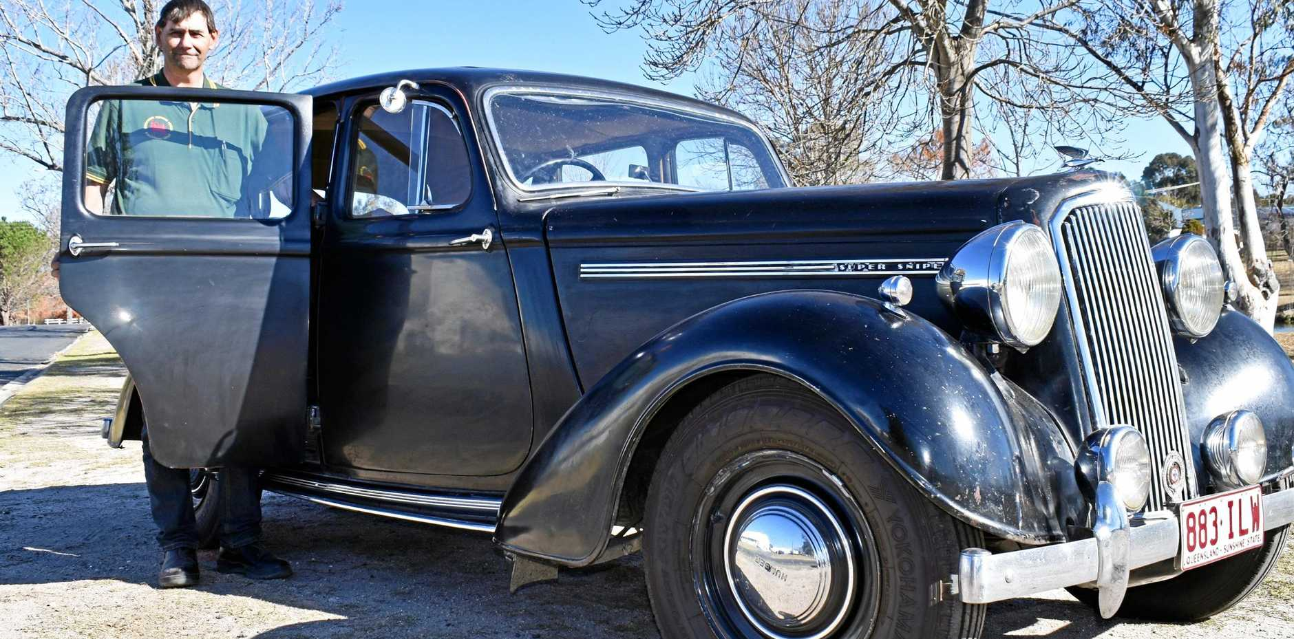 ENTHUSIAST: Gary Ellis, of Stanthorpe Historical Vehicle and Machinery Group, with his original 1947 Humber.