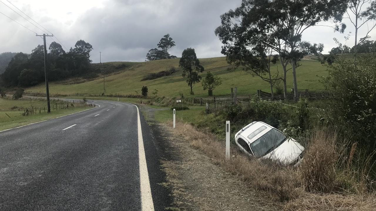 A Coramba Rd resident is calling for a dangerous corner to be recambered after yet another crash occurred today.