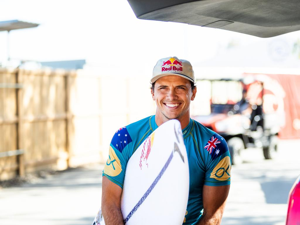 Coolum's Julian Wilson all smiles competing at the Surf Ranch in California.