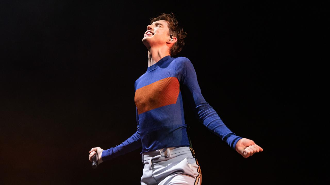 Troye Sivan hits the stage at Margaret Court Arena. Picture: Mackenzie Sweetnam/Getty Images