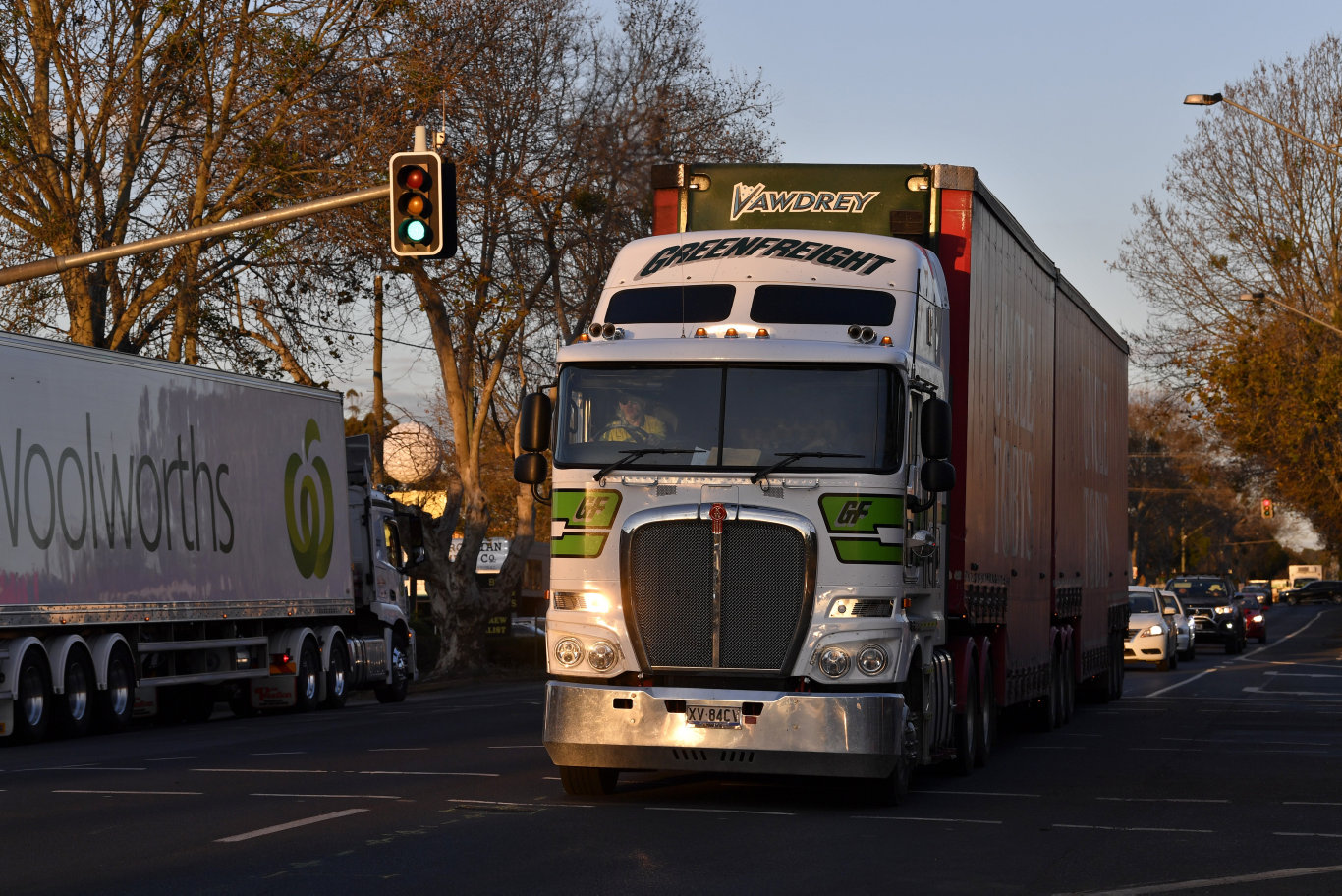 Trucks on James St in the weeks before the opening of the Toowoomba Second Range Crossing, to be known as the Toowoomba Bypass, Friday, August 16, 2019.