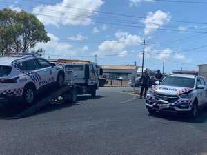 Police cars rammed in alleged getaway
