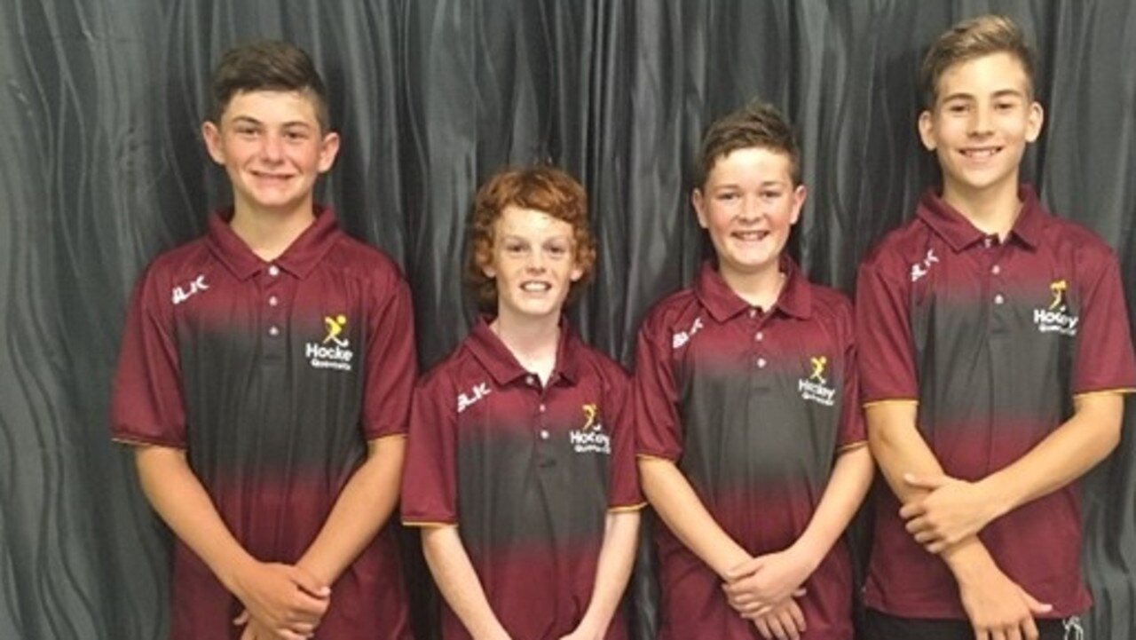Cooper Friese, Kaleb Mayfield, Harry Kirkwood and Jack Morgan - (absent Lachlan Davies) will travel to Hobart next week for the Under-13 National Hockey Titles.