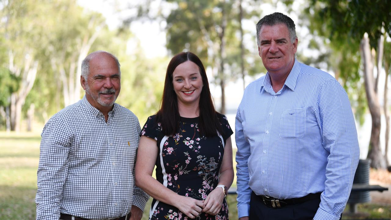 Livingstone Shire mayor Bill Ludwig, Keppel MP Brittany Lauga and Fisheries Minister Mark Furner.