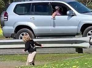 Terrifying moment child runs to stranger