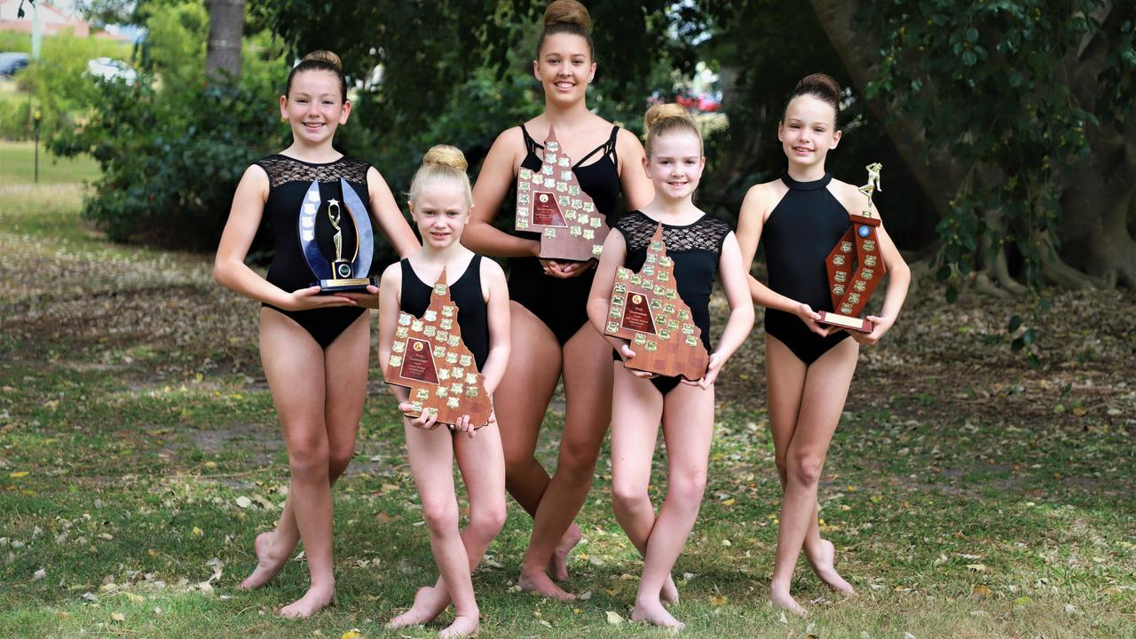 SHINING BRIGHT: Mia Williams, Violent Kamen, Mia Dennison, Addison Shevelling and Willow Nulty from Allstars Calisthenics Academy Inc. were all part of teams that recently became state champions of three of the four age groups they entered in the QLD State Team Calisthenic Championships. Photo: Lacee Froeschl