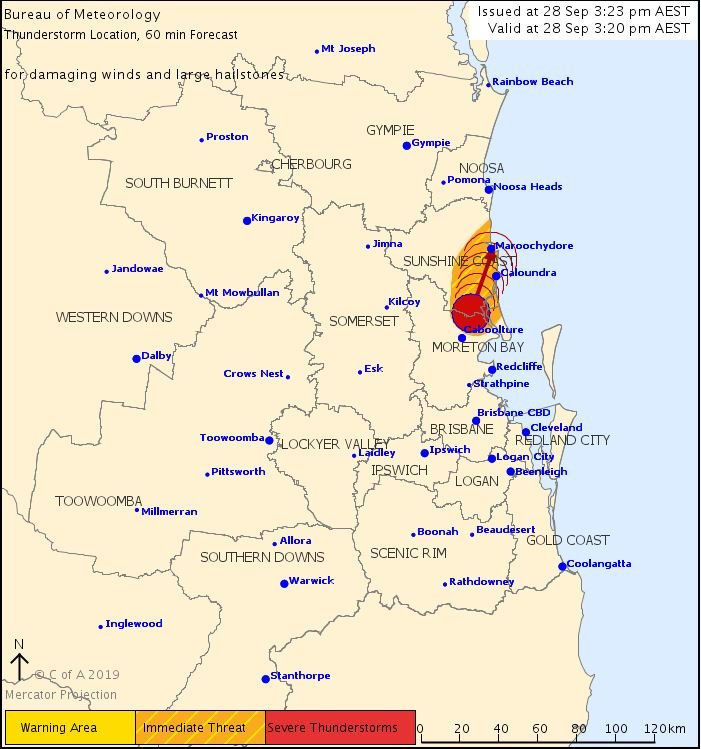 The Bureau of Meteorology has issued a severe thunderstorm warning for the Sunshine Coast.