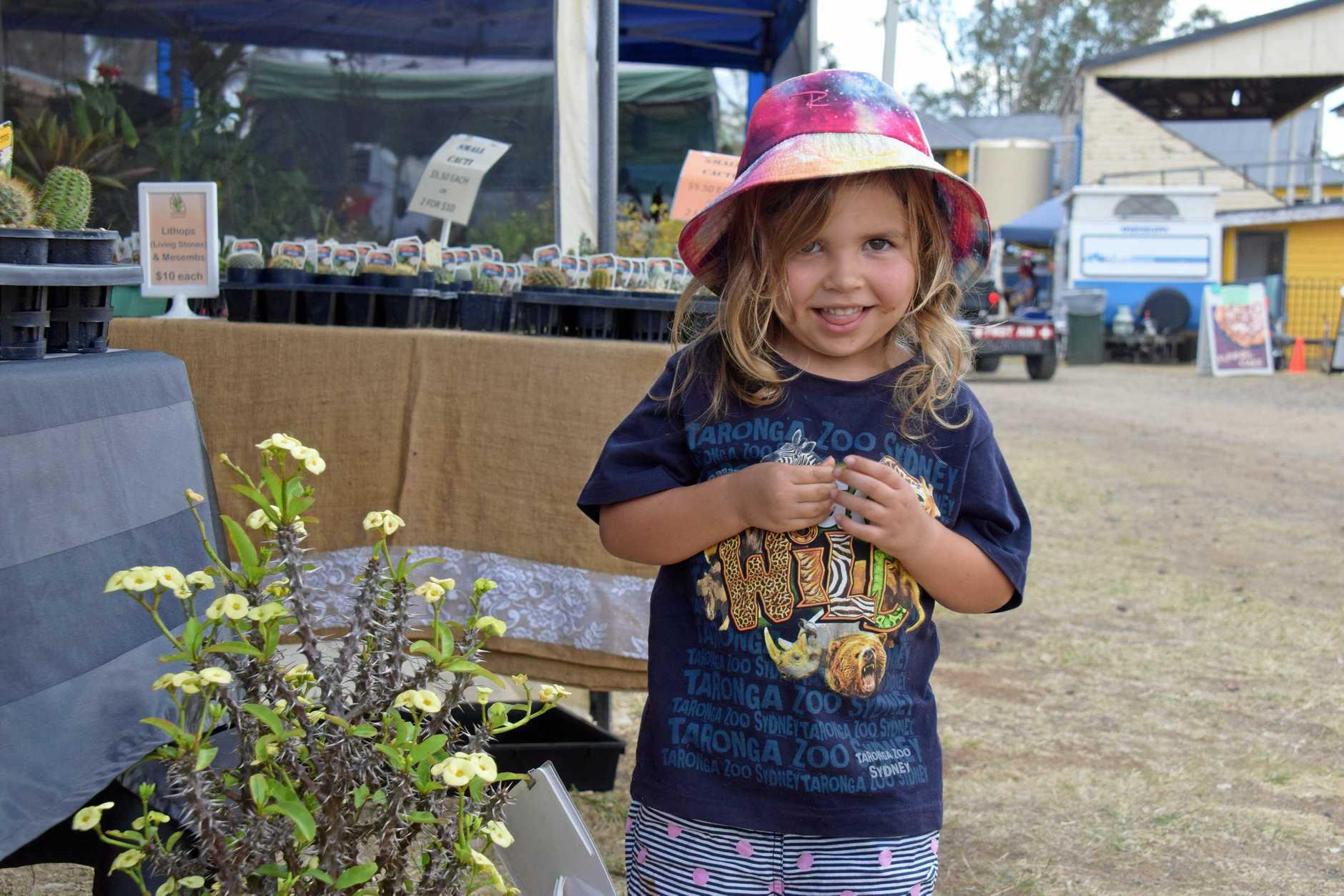 Evie Wilson, 4 enjoying her day at the Wondai Spring Garden Expo.