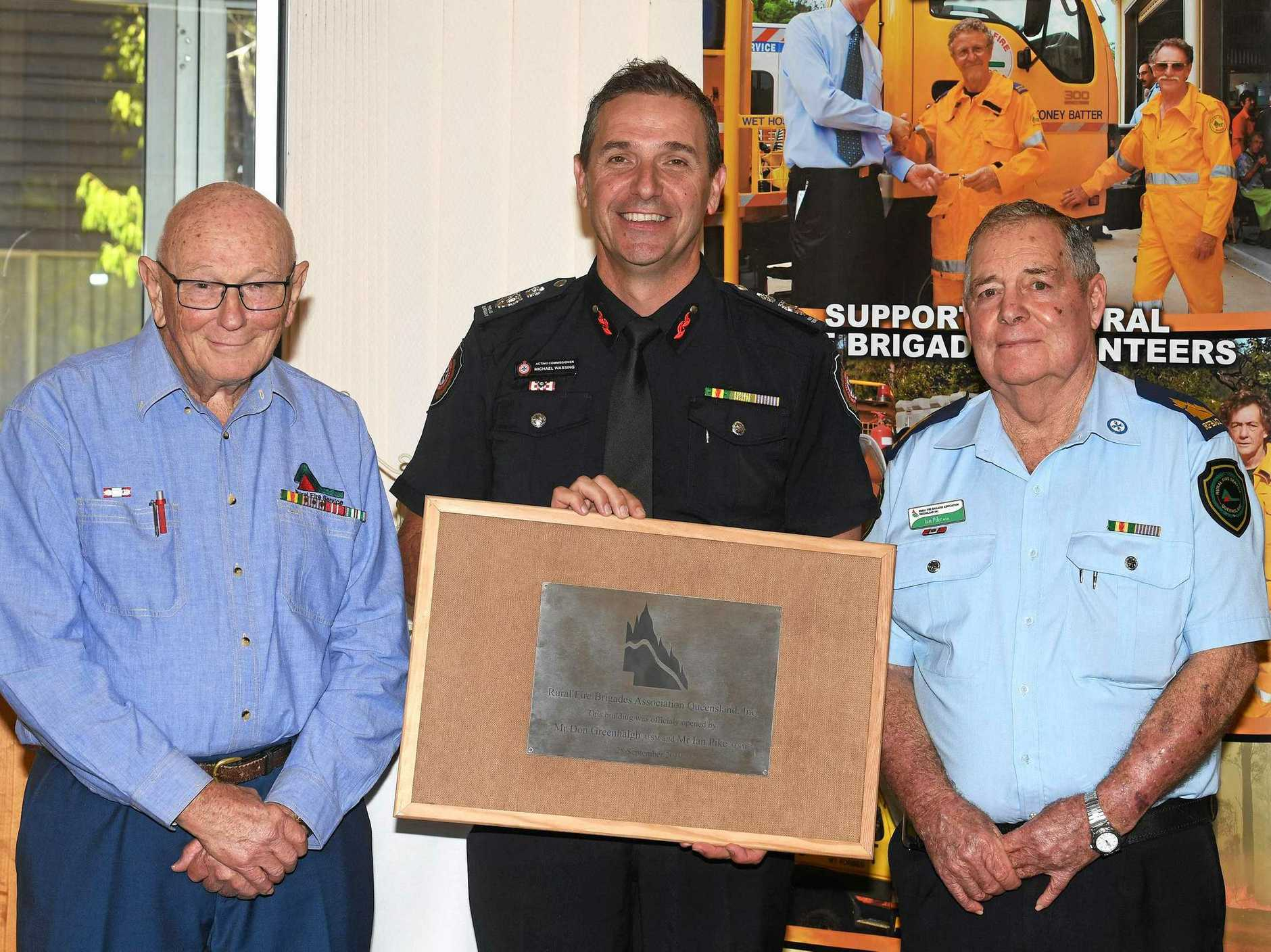 Official opening of new Rural Fire Brigade building - Don Greenhalgh, Mike Wassing, Ian Pike