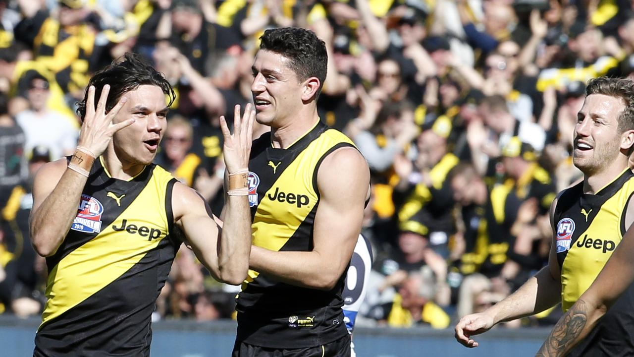 Daniel Rioli celebrates a goal. Picture: David Caird
