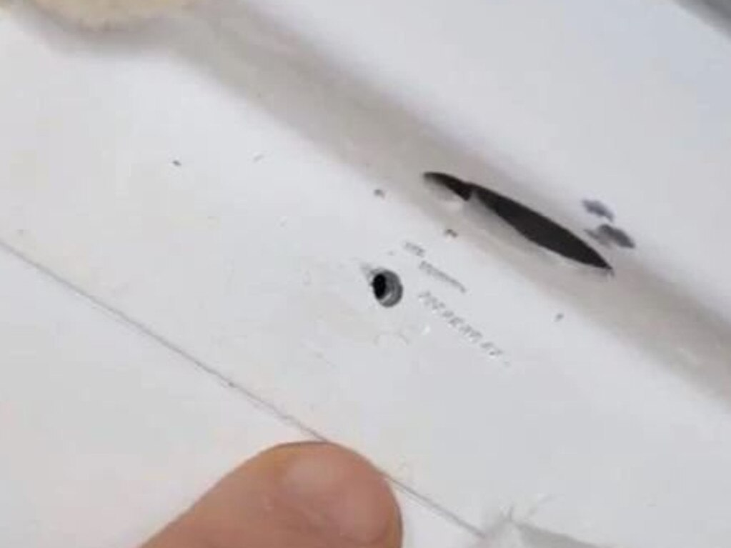 The hole, tiny in diameter, caused an air pressure crisis in the International Space Station. Picture: Supplied