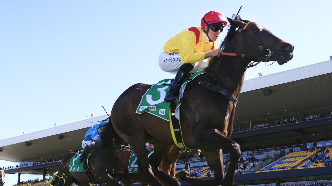 Tommy Berry guides Mizzy to victory in the Golden Pendant at  Rosehill Gardens on Saturday. Picture: Mark Evans/Getty Images
