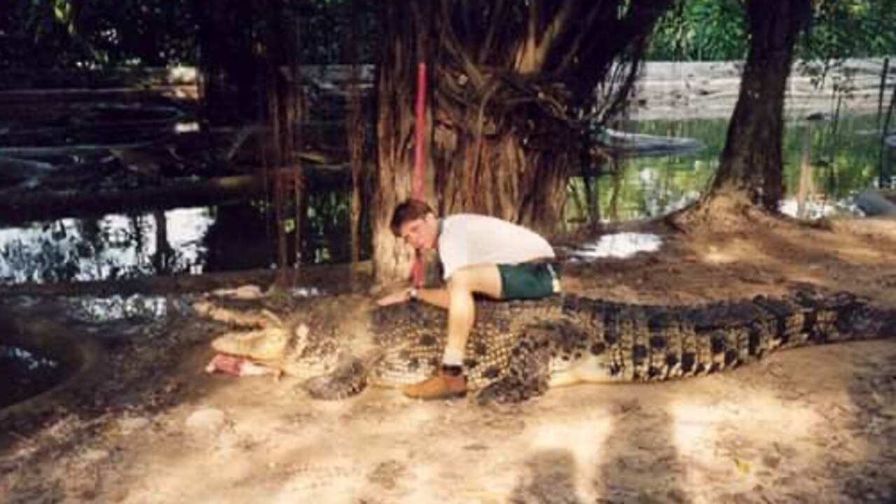 Adrian Hogg handling a large croc when he was 18.