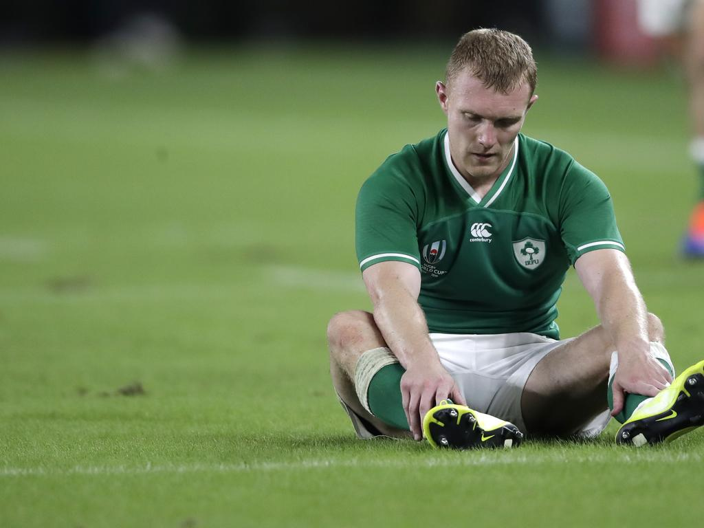 Ireland's Keith Earls reacts following his teams 19-12 loss in the Rugby World Cup.