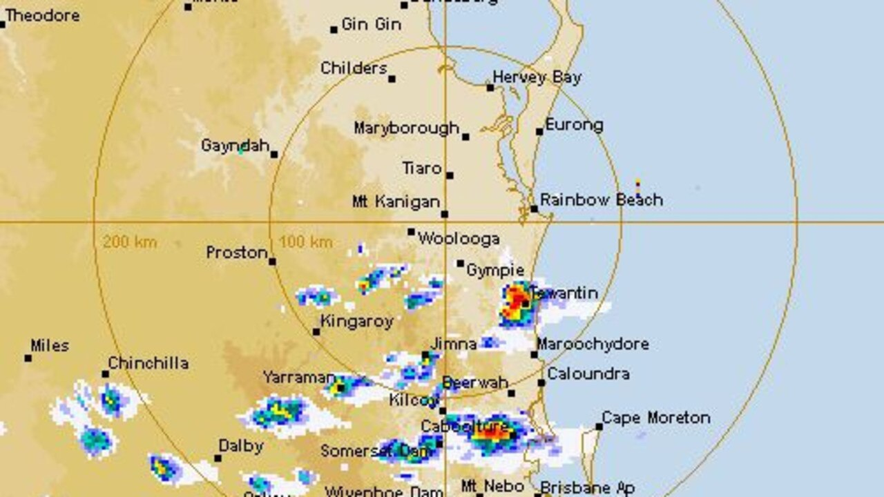 The Bureau of Meteorology radar shows thunderstorms hitting the Sunshine Coast, bringing with them the chance of hail and strong winds.