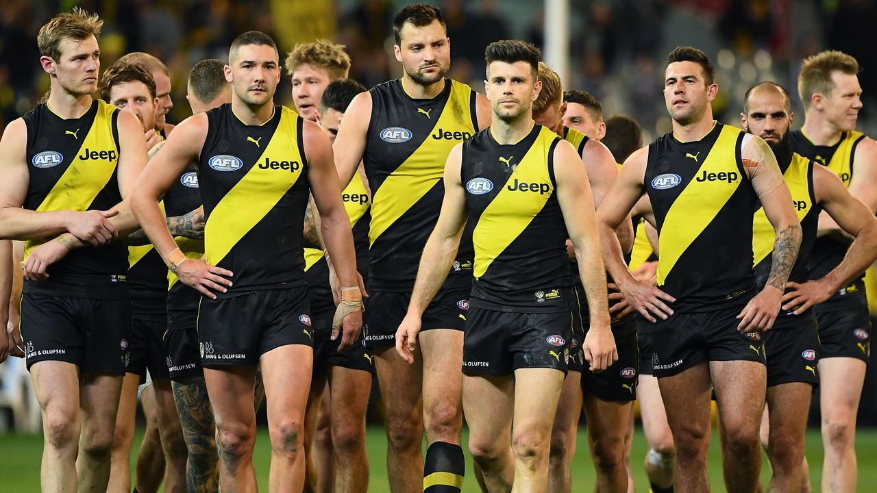 Richmond trudges off the MCG after last year's preliminary final loss to Collingwood. Picture: Quinn Rooney/Getty Images.
