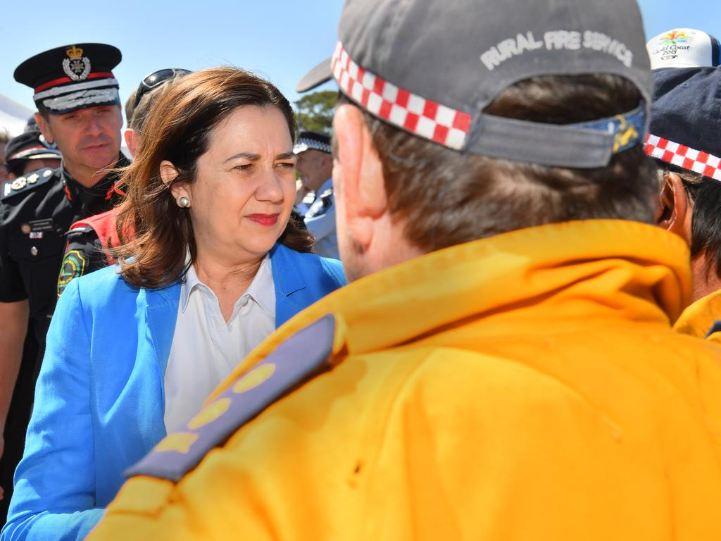 Queensland Premier Annastacia Palaszczuk visits Peregian Beach to pay tribute to the colossal effort and courage shown by emergency fire fighters during the horrendous fires. Photo: John McCutcheon / Sunshine Coast Daily