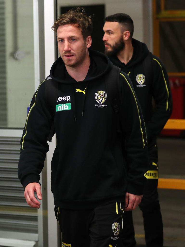 Richmond's Kane Lambert arrives at the MCG. Picture: Michael Klein.