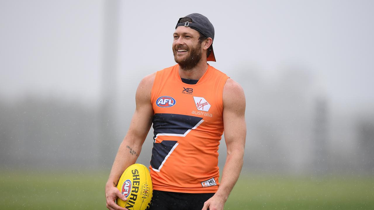 GWS Giants player Sam Reid takes part in a training session at WestConnex Centre in Sydney, Friday, August 30, 2019. (AAP Image/Dan Himbrechts)