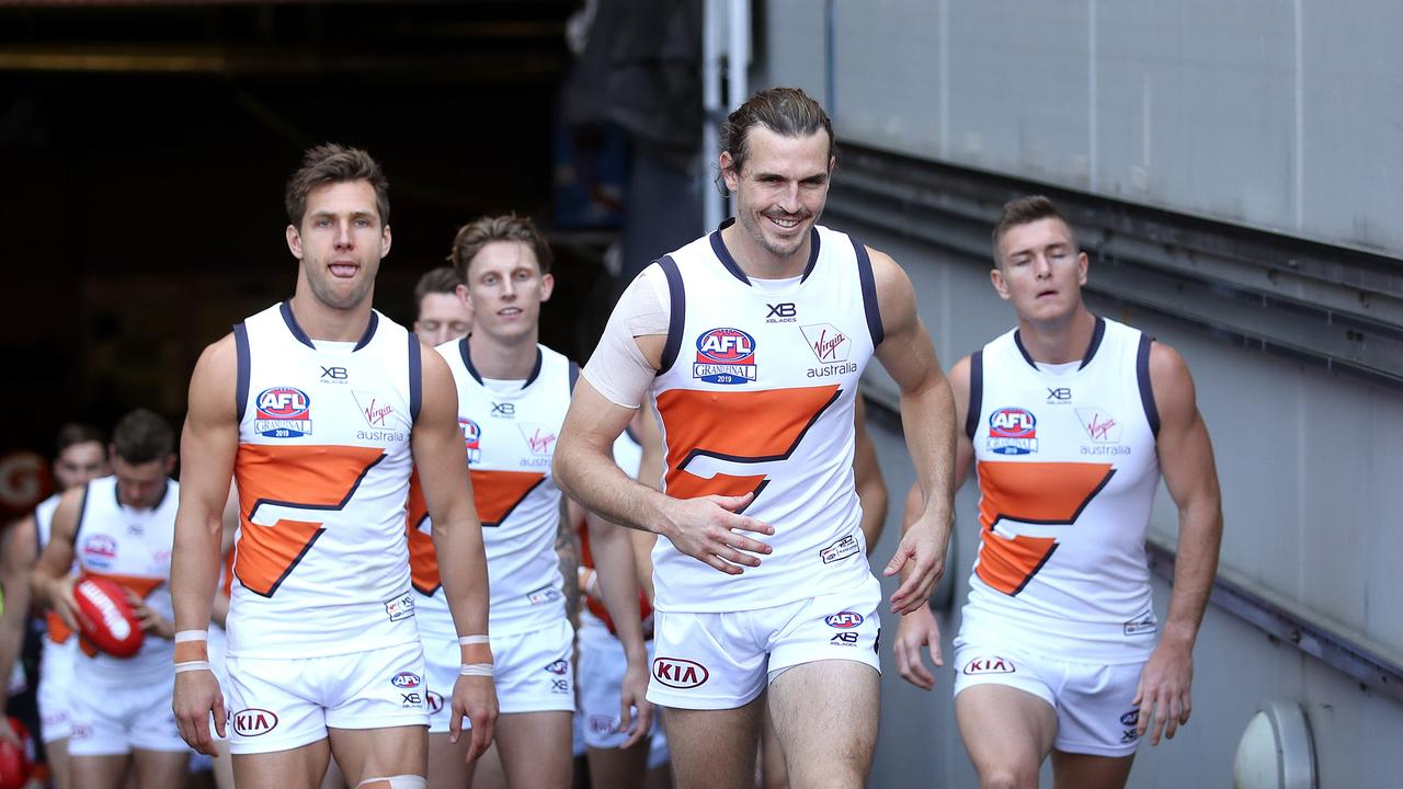The Giants run out during the AFL Grand Final between the GWS Giants and Richmond Tigers at the MCG on September 28, 2019 in Melbourne. Picture. Phil Hillyard