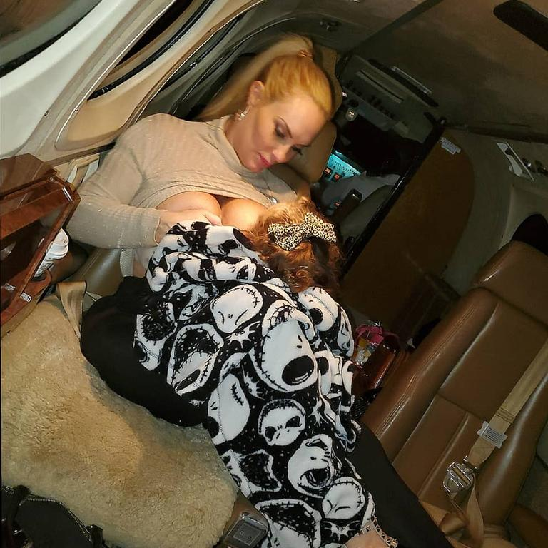 Coco shared a series of photos from the private jet.