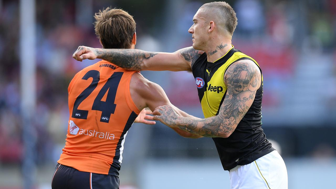 Dustin Martin was frustrated by Matt De Boer's close checking in Round 3. Picture: AAP Image/Dan Himbrechts.