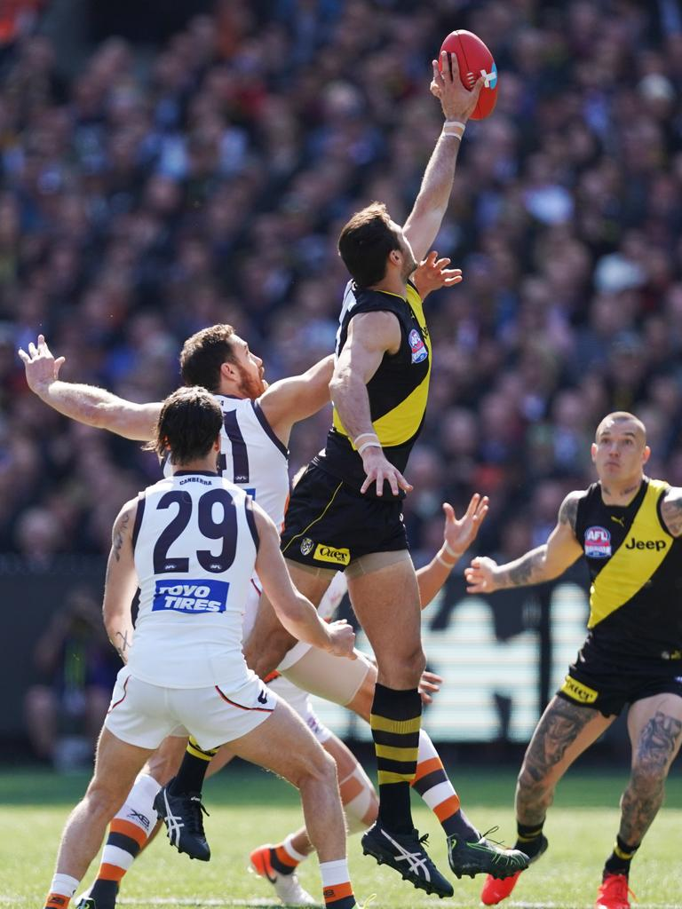 Toby Nankervis of the Tigers wins the first tap out during the 2019 AFL Grand Final between the Richmond Tigers and the GWS Giants at the MCG in Melbourne, Saturday, September 28, 2019. Picture: Michael Dodge/AAP.