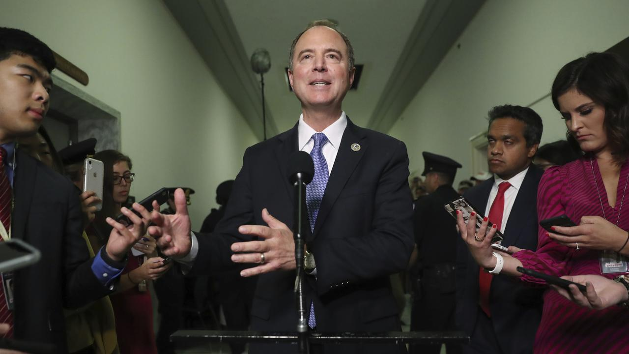 Chairman Rep. Adam Schiff, D-Calif., talks to the media after Acting Director of National Intelligence Joseph Maguire testified before the House Intelligence Committee. Picture: AP
