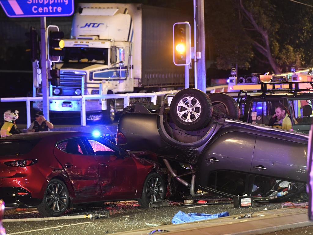 The scene of the horrific three-car crash at Ermington. Picture: Gordon McComiskie
