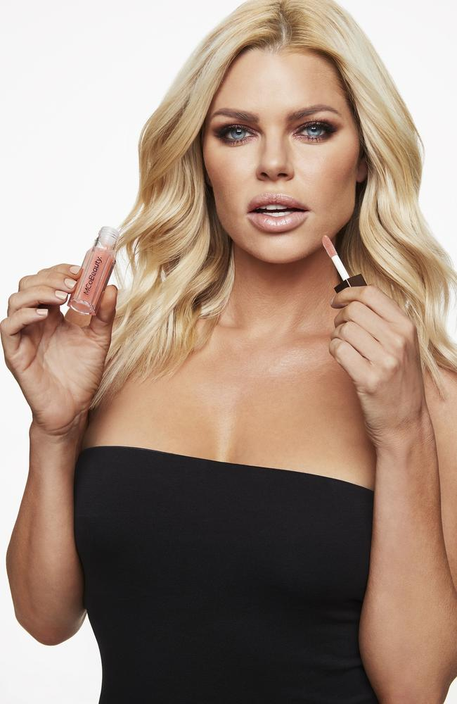 Sophie Monk with her favourite new product for MCo Beauty. Picture: Supplied