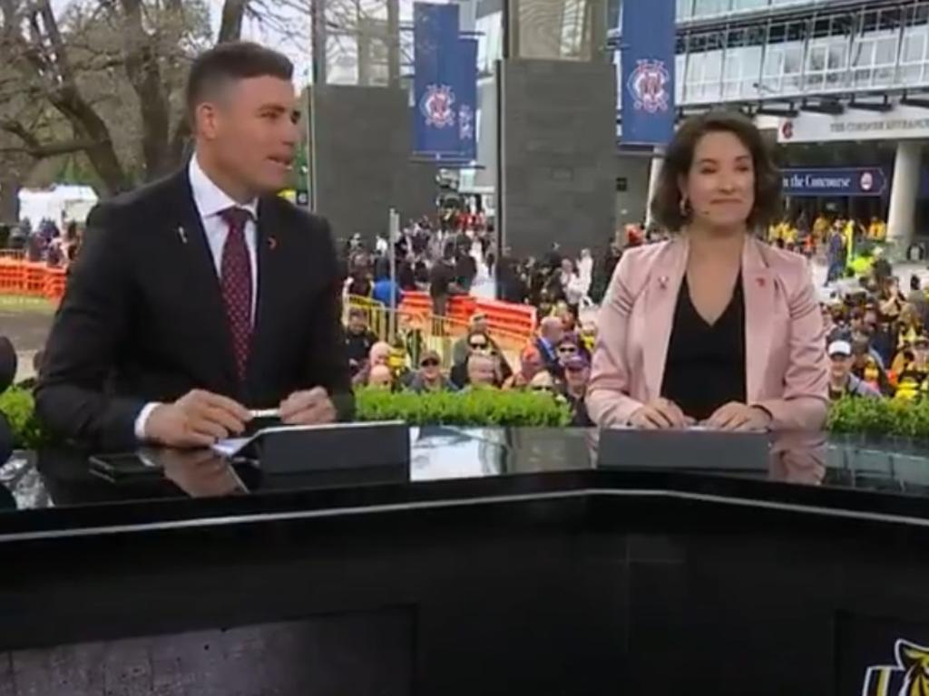 Nat Edwards hosting Channel 7's AFL grand final pre-match.