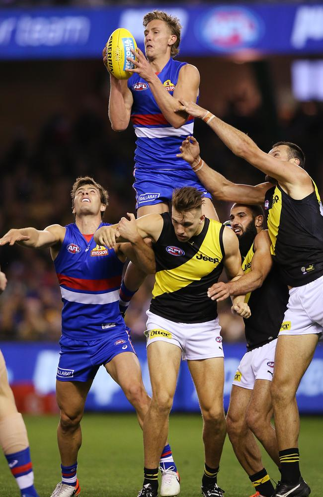 Aaron Naughton and the Western Bulldogs soared past Richmond in Round 7. Picture: Michael Dodge/Getty Images.