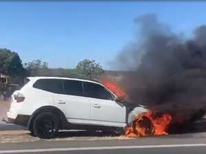 WATCH: Car fire causes delays on Warrego Highway