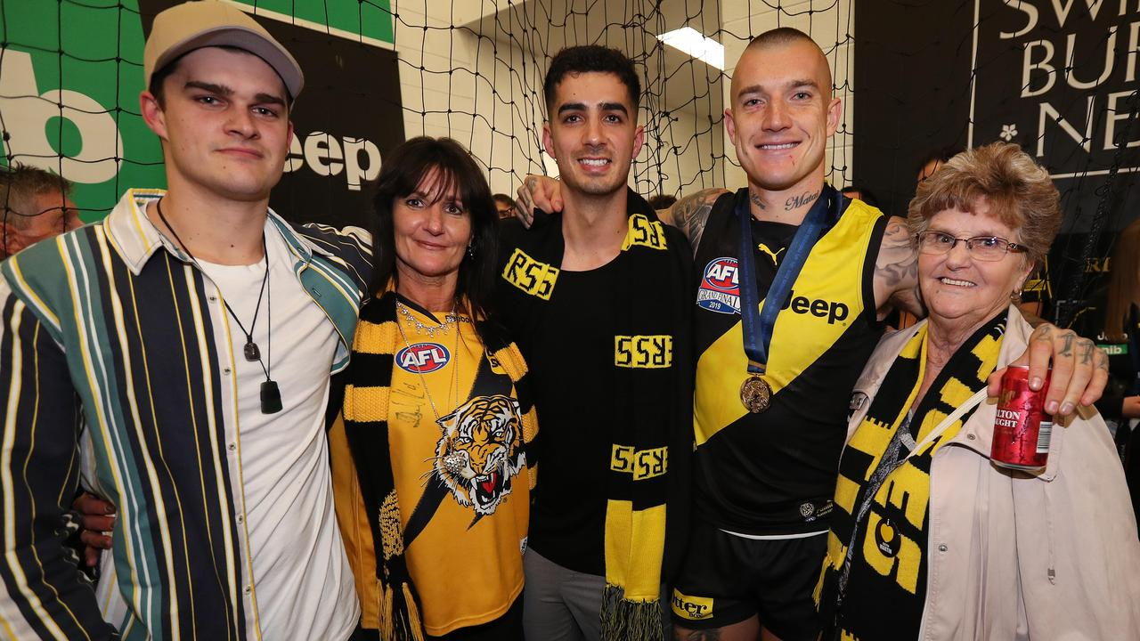 Norm Smith medallist Dustin Martin with his grandmother Lois Knight, mum Kathy and brothers Bronson and Tyson. Picture: Michael Klein.