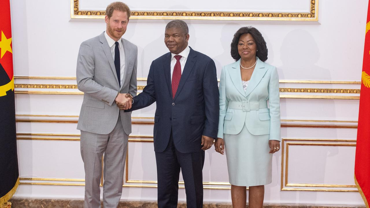 Prince Harry, Duke of Sussex, meets with the President of Angola Joao Lourenco and First Lady Ana Dias Lourenco at the presidential palace. Picture: Getty Images